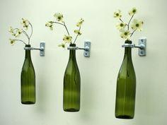 2 Wine Bottle Wall Vases Set of 2 Light by HarvestMoonShoppes