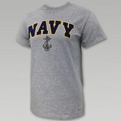 Navy Arch Anchor T- Shirt (Grey)
