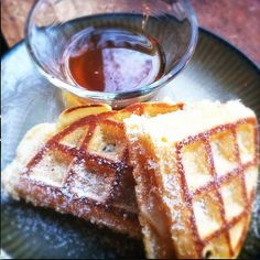 Grilled waffle and Gruyere sandwich with a side of local maple syrup. Paired with //My Indie Charlotte Brewery Black Chocolate Stout. Brooke Williams, Brooklyn Brewery, Chocolate Stout, Waffle Sandwich, Maple Syrup, Grilling, Indie, Sandwiches, Charlotte