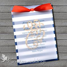 Diy nautical invitations and wedding programs wedding nautical blue and white nautical ribbon layered wedding invites iwfc036 wedding invitations online invitesweddings solutioingenieria Choice Image