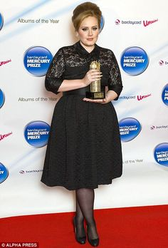 Big on style: Curvy size 16 Adele wearing a pretty black lace dress by designer Clements Ribeiro Big Girl Fashion, Xl Fashion, Curvy Fashion, Plus Size Fashion, Fashion Outfits, Plus Size Dresses, Plus Size Outfits, Trendy Outfits, Adele Dress