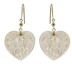 Imperial Pearl Carved Mother Of Heart Shaped Earrings In 14k Gold