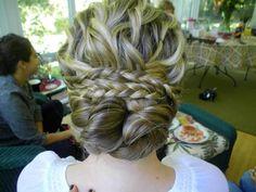 Pretty textured updo. Braids & bun!