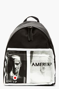 Givenchy Black Leather-trimmed Amerika Graphic Backpack