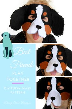 The cutest puppy mask pattern for Halloween or a kids party, or just for dress up and costume fun!  Find this mask pattern at Ebony Shae Designs on Etsy.