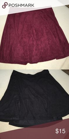 """Faux Suede skater skirt bundle both skirts in """"gently loved"""" condition. cute paired with a pair of tights and knee high boots/socks. worn with a crop top, bodysuit, or tucked in tee LA Hearts Skirts Circle & Skater"""