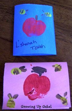 Rosh Hashanah Cards - Growing Up Gabel New Year's Crafts, Holiday Crafts, Crafts For Kids, Toddler Crafts, Preschool Crafts, Jewish Crafts, Jewish Art, Yom Kippur, Yom Teruah
