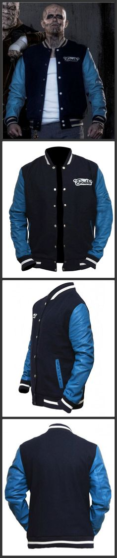 """From the Superhit Movie """"Suicide Squad"""" Our Store Brings Boys fashion wear, this is Jay Hernandez El Diablo Blue Letterman Jacket. El Diablo Stunning Outfit is made with Fleece Material. If you want this Attractive Outfit Just Click on and Place your Order."""