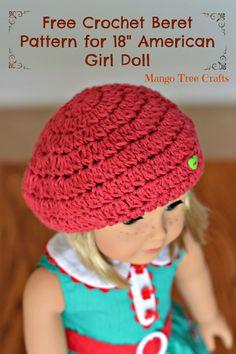 "Crochet Beret Hat Pattern for 18"" American Girl Doll"