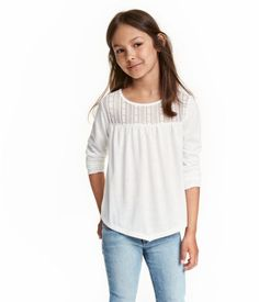 Top with Lace   Natural white   Kids   H&M US