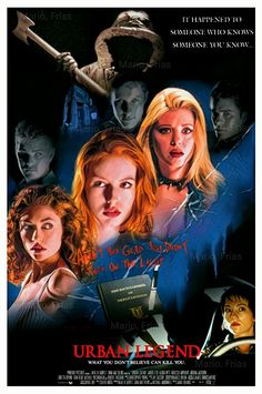 """Don't you want to be an urban legend, Nat? All your friends are now."" Urban Legend fan poster is a right crack Urban Legend Movie, Urban Legend 1998, Best Horror Movies, Sci Fi Movies, Scary Movies, Fan Poster, Movie Poster Art, Scary Documentaries, Horror Movie Posters"