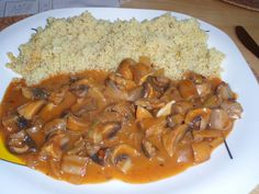 Czech Recipes, Ethnic Recipes, Goulash, Thai Red Curry, Risotto, Stuffed Mushrooms, Clean Eating, Rice, Grains