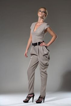 Women's Jumpsuit Grey Jumper Vneck Jumpsuit Made by DariaKaraseva, $180.00