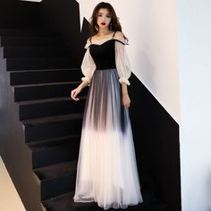 Modern / Fashion Gradient-Color Black Evening Dresses 2019 A-Line / Princess Spaghetti Straps Pleated Sleeves Backless Long Formal Dresses - Evening Dresses Trendy Dresses, Elegant Dresses, Cute Dresses, Beautiful Dresses, Prom Dresses, Formal Dresses, Long Prom Gowns, Set Fashion, Modern Fashion