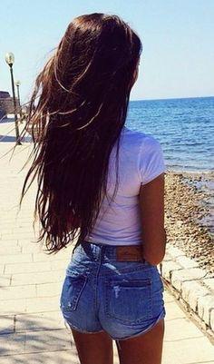 #summer #fashion / denim shorts