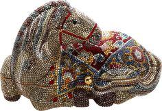 Luxury Accessories:Bags, Judith Leiber Colorful Arabian Horse Full Bead Minaudiere EveningBag. ...