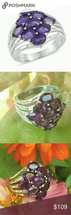 💚 AMETHYST STAINLESS STEEL Ring size 6 purple 💚 AMETHYST STAINLESS STEEL Ring size 6 purple Displaying a powerful pop of color, this amethyst ring looks stunner. Beautifully designed, this ring features amethyst gems with purple shades. Set in stainless steel, this delight will get you loads of compliments for your fashion selection. Includes gift box Jewelry Rings
