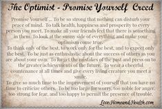 The Optimist - Promise Yourself Creed - Love, Home, and Health