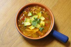My new favorite! Paleo chicken tortilla-less soup with avocado! Spicy!!