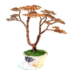 Tall Copper Wire Bonsai Tree by angelhitsground