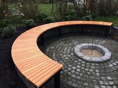 Bowl & circular bench by Skafte and Rosendahl - Modern Landscaping Around Trees, Fire Pit Landscaping, Garden Fire Pit, Fire Pit Backyard, Curved Patio, Outside Fire Pits, Outdoor Fireplace Designs, Round Fire Pit, Fire Pit Designs
