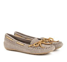 Sole Society New Arrivals - Moccasin flats in dark mushroom.  Available in Midnight Blue or Orange. I %u2665 moccasins and have actually worn out a pair before. So comfy and easy to slip off and on around the home or to slip them on and run to the store.