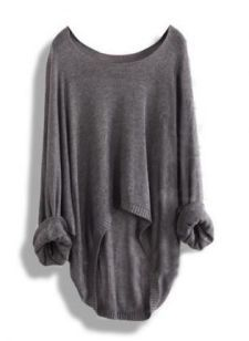 Gray Loose Bat Sweater