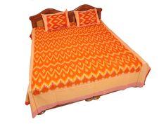 Pochampally Ikkat Cotton Double Bedsheet  [D1153252] Linen Bedding, Bed Linen, Pochampally Sarees, Bed Sheets, Loom, Cotton, House, Linen Sheets, Bed Linens
