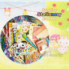 cute kids stationery grab bag cheap set fun japan korean stationery set buy online bargain kawaii stationery