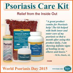 Psoriasis is more than just skin deep. One of the best ways to relieve Psoriasis naturally is by addressing it from the inside-out. Cleanse toxins from the digestive tract and strengthen the intestinal walls with Saffron Tea & Slippery Elm Powder. Our Psoriasis cream and Psoriasis scalp and body wash address the symptoms of this skin irritation on the outside. #WorldPsoriasisDay  http://www.baar.com/Merchant2/merchant.mvc?Screen=PROD&Product_Code=10200