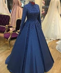 Book ur dress now Completely stitched outfits in all colours like ✔ comment✔ share✔ tags✔ For booking ur dress plz dm or whatsapp at Prom Dresses Long With Sleeves, Ball Dresses, Ball Gowns, Most Beautiful Dresses, Pretty Dresses, Muslimah Wedding Dress, Wedding Hijab, Dress Wedding, Blue Wedding