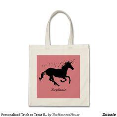 Personalized Trick or Treat Unicorn Halloween Bag