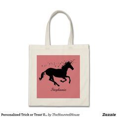 Personalized Trick or Treat Unicorn Halloween Bag