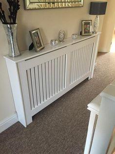 Radiator cover b&q: hallway designs, hallway ideas, hallway inspiration White Radiator Covers, Modern Radiator Cover, Painted Radiator, Radiator Shelf, Flur Design, Hallway Inspiration, Hallway Designs, Hallway Ideas, Small Hallways