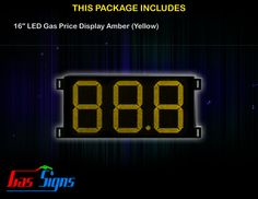 16 Inch 88.8 LED Gas Price Display Yellow with housing dimension H507mm x W934mm x D55mmand format 88.8 comes with complete set of Control Box, Power Cable, Signal Cable & 2 RF Remote Controls (Free remote controls).