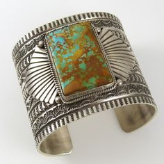 Stamped Cuff | Sunshine Reeves. (Navajo). Sterling silver with Kings Manassa Turquoise