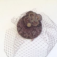 Chocolate brown veil cocktail hat. by talulahblue on Etsy