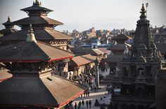 Durbar Square' temples from the rooftop - http://www.cosynepal.com/accommodations/durbar-squarehouse/