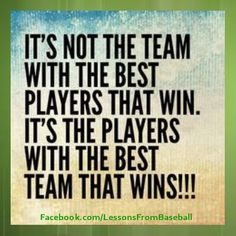 This is one of the best baseball quotes I've ever heard! inspirational running quotes motivation, workout running, running birthday quotes is one of the best baseball quotes I've ever heard! Netball Quotes, Volleyball Quotes, Sport Quotes, Sports Team Quotes, Quotes About Sports, Lacrosse Quotes, Quotes About Teammates, Great Team Quotes, Field Hockey Quotes