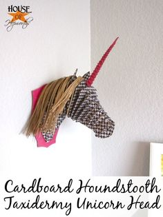 Cardboard hounds tooth taxidermy unicorn head. Everything about that description is amazing. #deephers