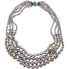 Alexis Bittar Fine Midnight Marquise Pearl Necklace ($4,995) ❤ liked on Polyvore featuring jewelry, necklaces, multi colors, multi strand necklace, multi colored pearl necklace, cluster necklace, multi color pearl necklace and aqua necklace