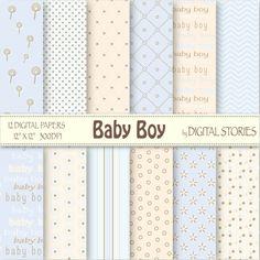 Baby Boy Digital Paper BABY BOY Light Blue by DigitalStories, €2.60