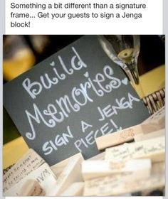 Memories, guest build a memory writing on a Jenga piece - for an open house…
