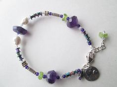 Natural Rough Cut Faceted Amethyst, Periodot, Colored Hematite, Artisan Heart Charm 925 Silver Artisan Bracelet Designed by Blue Tortue