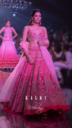 Fuchsia Rose Paneled Lehenga A perfect bridal lehenga for the pink lovers, the fuchsia rose design is full of glamour and drama. With the intricate ha. Pink Bridal Lehenga, Designer Bridal Lehenga, Pink Lehenga, Indian Bridal Outfits, Indian Bridal Fashion, Wedding Dresses For Girls, Bridal Dresses, Wedding Lehenga Designs, Bridal Lehenga Collection