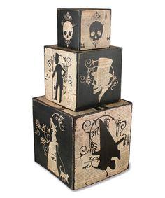Loving this Black & White Haunt Nesting Block - Set of Three on #zulily! #zulilyfinds