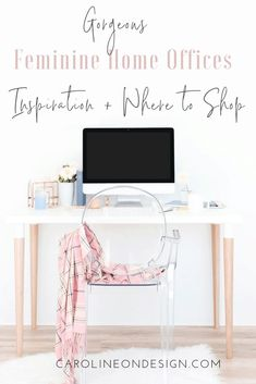 This roundup of (gorgeous!) fun and feminine home offices will give you some GREAT ideas to bring up the WOW factor in your office! Home Office Chairs, Home Office Decor, Office Ideas, Home Office Accessories, Feminine Home Offices, Cool Office Space, Desk Inspiration, Interior Decorating Tips, House Design Photos