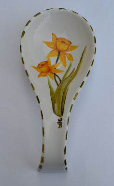 Daffodil Spoon Rest Hand Painted Daffodils by LisasPaintedCrafts