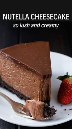This Nutella Cheesecake tastes like it came from a gourmet bakery. It's decadent, creamy, and full of Nutella flavor. Nutella Cheesecake - The very best Nutella Cheesecake recipe Best Nutella Cheesecake Recipe, Nutella Recipes, Chocolate Recipes, Nutella Brownies, Nutella Cake, Oreo Cake, Baking Recipes, Dessert Recipes, Dessert Games
