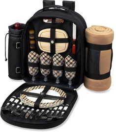 Ascot Picnic Backpack Cooler with Blanket for Four
